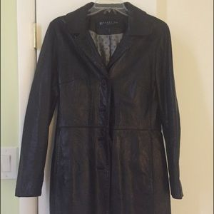 Reaction by Kenneth Cole black leather trench