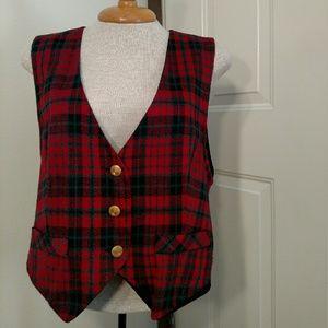 CLEARANCE Vintage Festive Plaid Vest