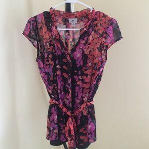 Sheer Pink, orange and black floral blouse