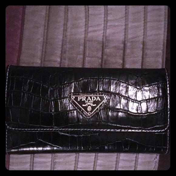 d376319babb2c9 Prada Bags | Long Black Croc Leather Wallet W Checkbook | Poshmark
