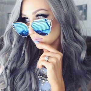 designer mirrored sunglasses f5ex  Blue Mirrored Cat-Eye Sunglasses