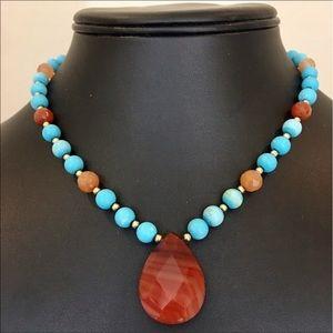 Jewelry - FIRM: 14K carnelian, gemstone necklace, 33.8g