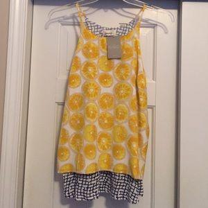 Cute summery lemon print split back top
