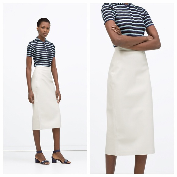 291ef6cf2a Zara White Faux Leather Midi Pencil Skirt. M_5780530578b31cd21301240a. Other  Skirts ...