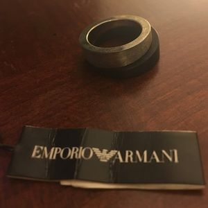 Emporio Armani stacked wood and silver rings NWT