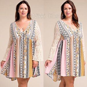 Boutique Dresses & Skirts - plus size boho flowy comfy lace sleeves dress