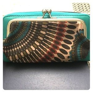 Peacock inspired clutch wallet