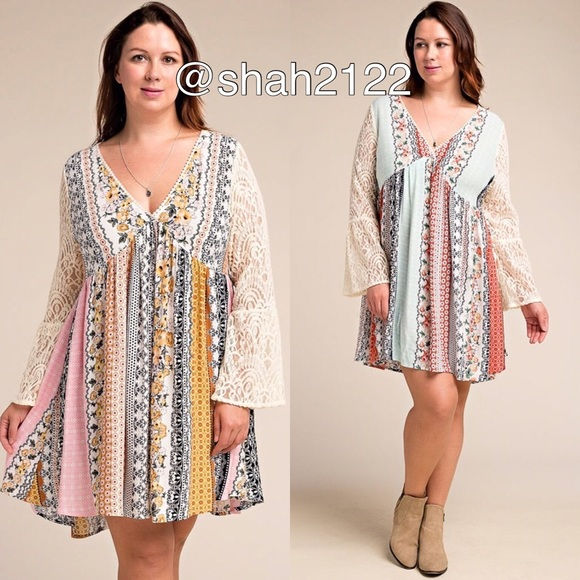 boutique Dresses | Plus Size Lace Sleeves Boho Flowy Dress | Poshmark