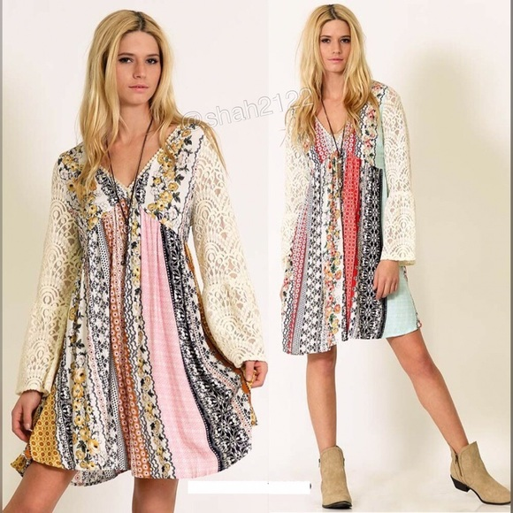 Boutique Dresses Plus Size Lace Sleeves Boho Printed Dress Blue
