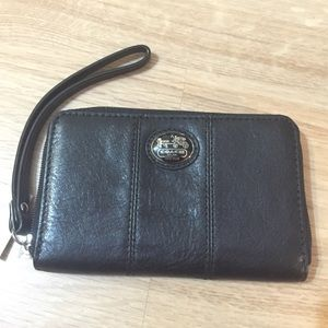 NWT Coach Wristlet Universal Case Black Leather