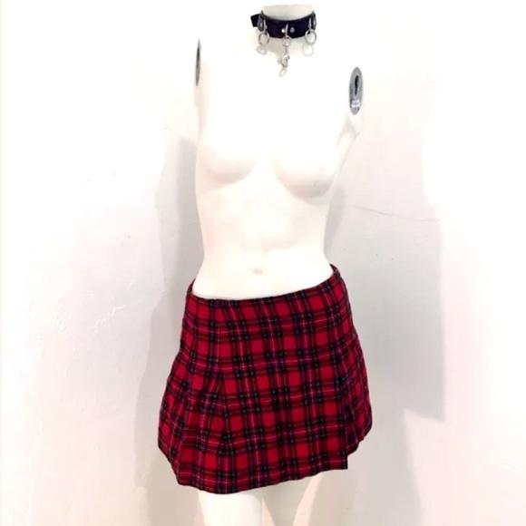1c3684f5ad35e2 Skirts | Vintage 90s Red Plaid Goth School Girl Skirt | Poshmark