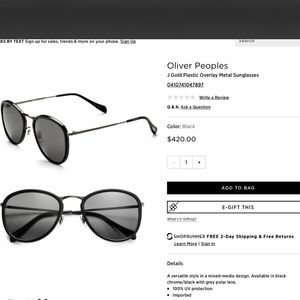 Oliver Peoples Accessories - OLIVER PEOPLES J GOLD POLARIZED BLACK SUNGLASSES