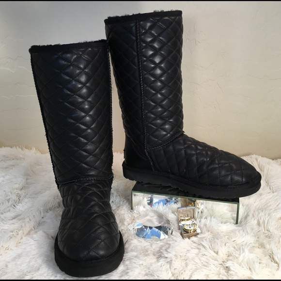 UGG Like New Black Quilted Leather Tall Boots
