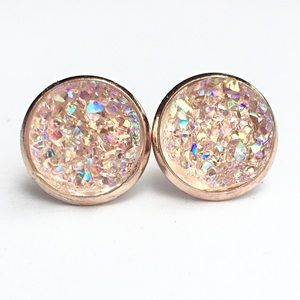 Jewelry - 3 for 15🎀Crystal Druzy style rose gold studs