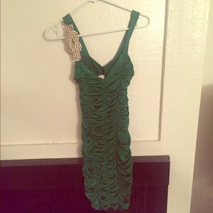 Green Ruched Cocktail Dress