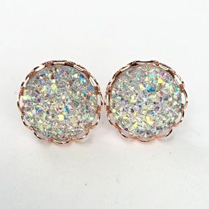 thejeweladdict Jewelry - 3 for 15🎀clear sparkly faux Druzy lace studs
