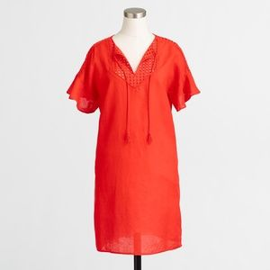 J. Crew Other - Factory red orange tunic swim cover up dress bell