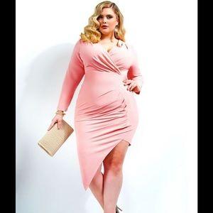 Monif C blush pink asymmetrical dress NWT 3x