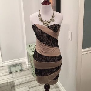 NWOT! nude/black lace sweetheart tube dress