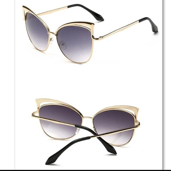 Cat Eye Women Sunglasses Gold Frame Gray Lenses from ! jan ...