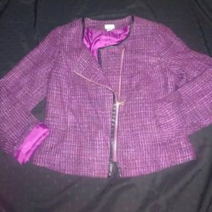 Purple full zip blazer; Jaclyn Smith collection