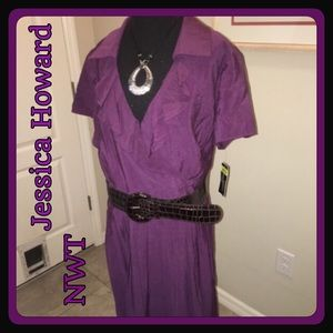 Jessica Howard Dresses & Skirts - 🌷NWT Jessica Howard Purple Dress with belt SZ 20