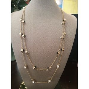 Dina Aziza Jewelry - Edgy Rhinestone & Black Stone Accent Necklace