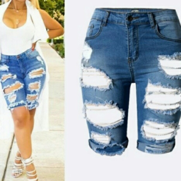 54% off Pants - Brand New distressed denim stretchy capri shorts ...