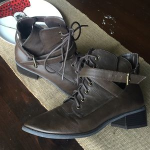 Brown strap boots