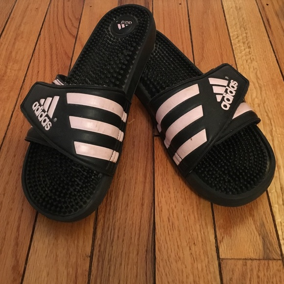 2450875aa Adidas Shoes - Light pink and black Adidas slides