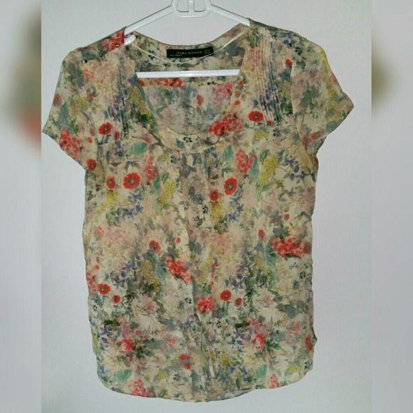 Zara Tops - Zara Floral Babydoll Style Blouse