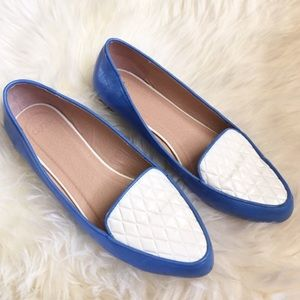 ASOS Blue White Leather Pointed Quilted Flats