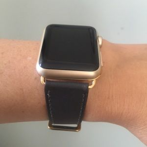 🌟GOLD Dark Gray Apple Watch Leather Band Strap