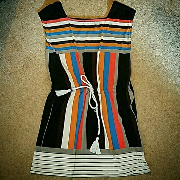 Maggy London Dresses & Skirts - Maggy London Stripe Drawstring Waist Dress 10