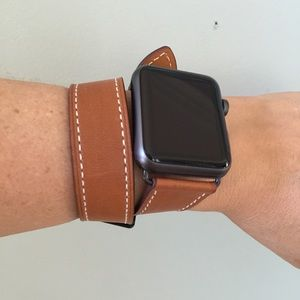 Space Black Hw Brown Leather Apple Watch Band Nwt