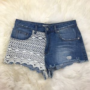 Topshop Pants - Topshop Crochet Distressed Frayed Denim Shorts