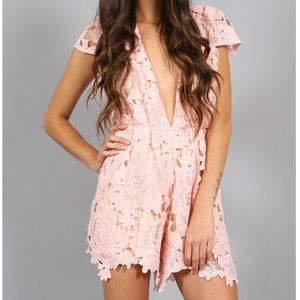 Southern Girl Fashion Pants - LACE ROMPER Floral Cap Sleeve Plunging V Jumpsuit