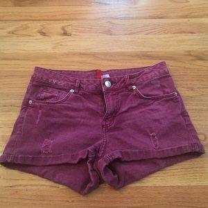 Burgundy shorts