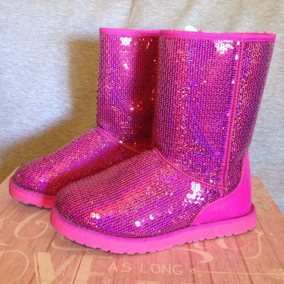 Pink Sparkly Boots Not Uggs   Poshmark
