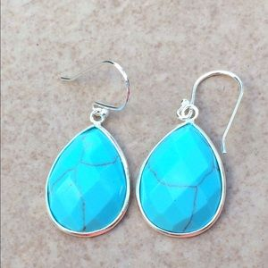 Jewelry - Silver Plated Teardrop Imitation Turquoise Drops