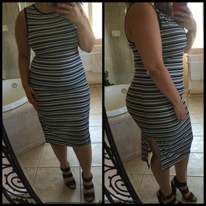 Dresses & Skirts - B&W Stripped Midi Dress*