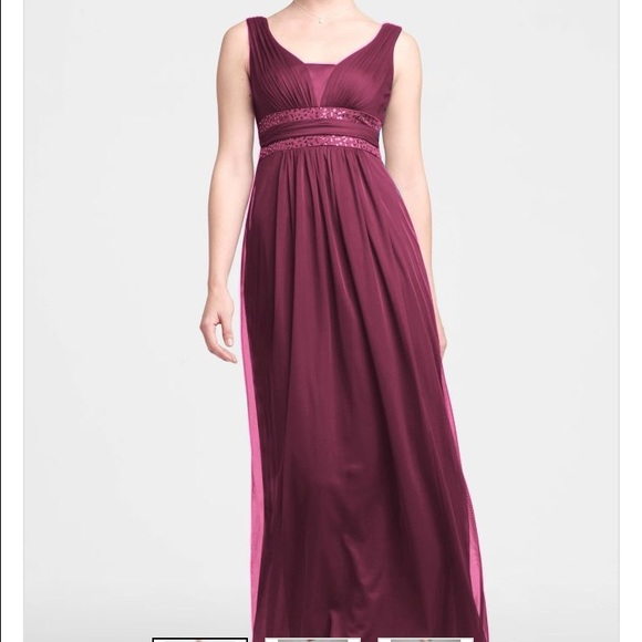 Davids Bridal Dresses Wine Color Bridesmaid Prom Formal Dress