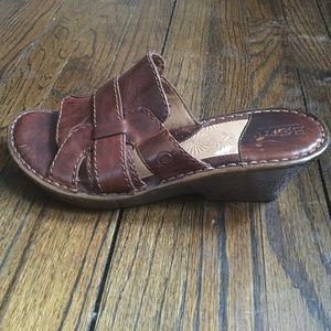 Born leather wedge sandals