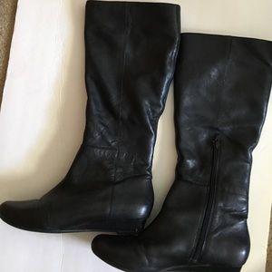 Indigo by Clarks knee high wedge boots Blk 8