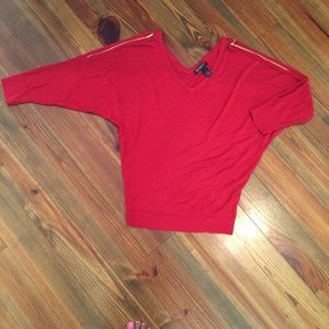 Red Plus Size Dolman Sleeve Top