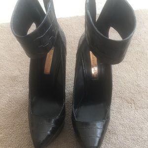 BCBG Max Azria black ankle strap wedges