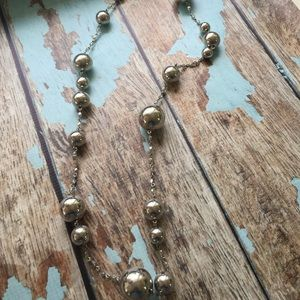 Silver ball and bead long Ann Taylor necklace
