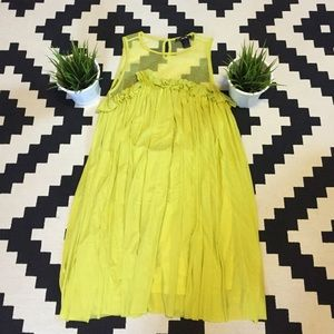 Short cocktail yellow/green ruffle dress