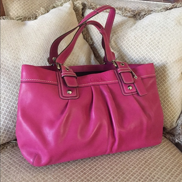 c8eafe491810a Coach Handbags - Coach SOHO large magenta hot pink leather tote