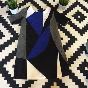 Blue black and white geometric dress!